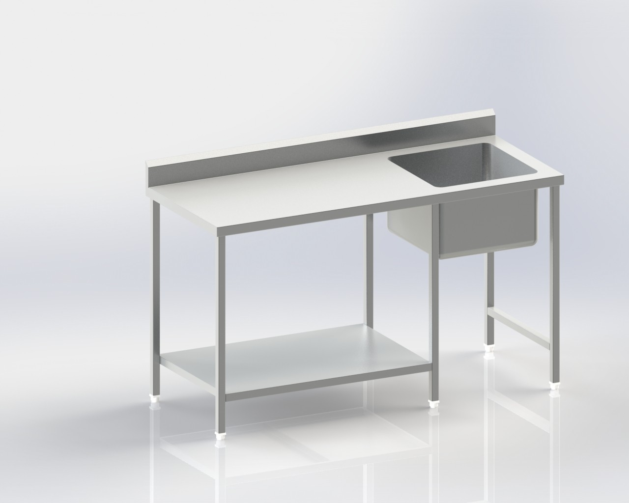 Worktable with right sink|Flat top|Back splash