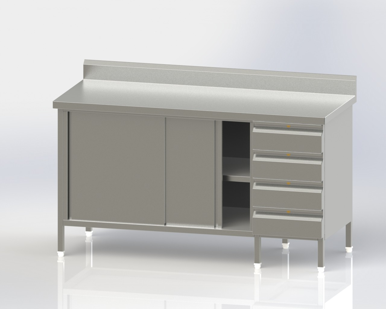 Work Table with cup board and Drawers 2