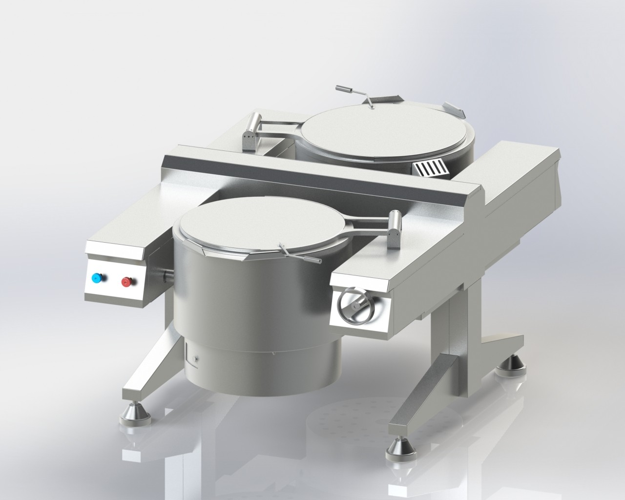 Boiling Pan Twin Unit for cooking bulk food like rice and vegetables