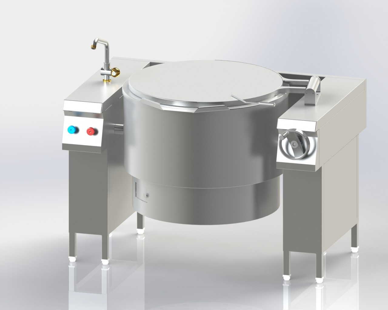 Boiling Pan with Stand for boiling and cooking food in bulk.