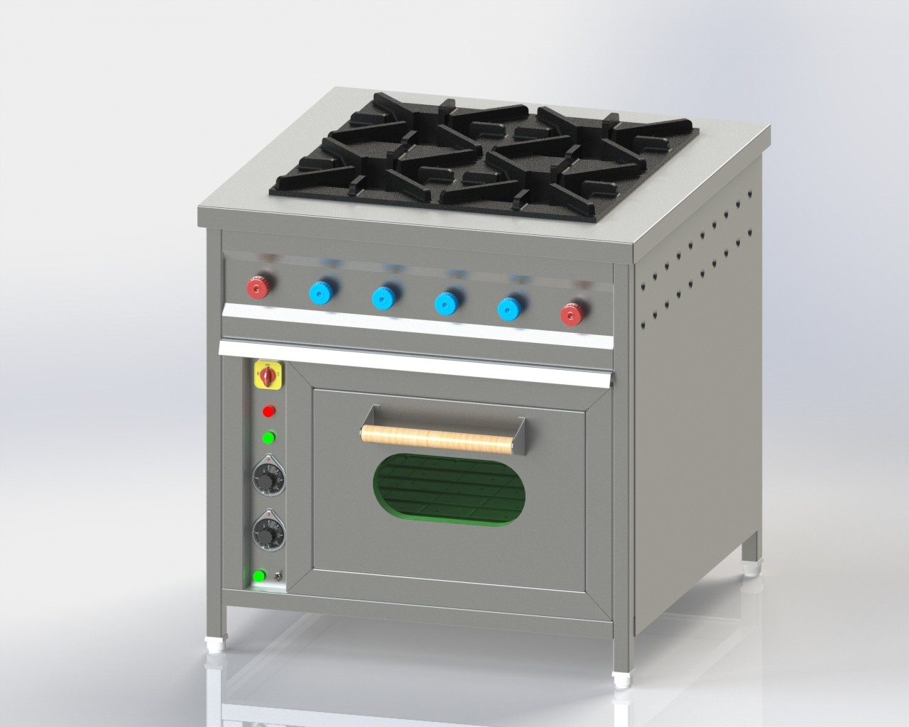 Four Burner with Below oven for cooking in commercial kitchen