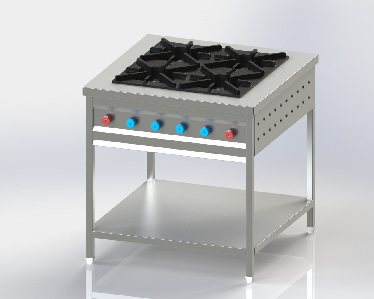Four Burner without oven for cooking in commercial kitchen
