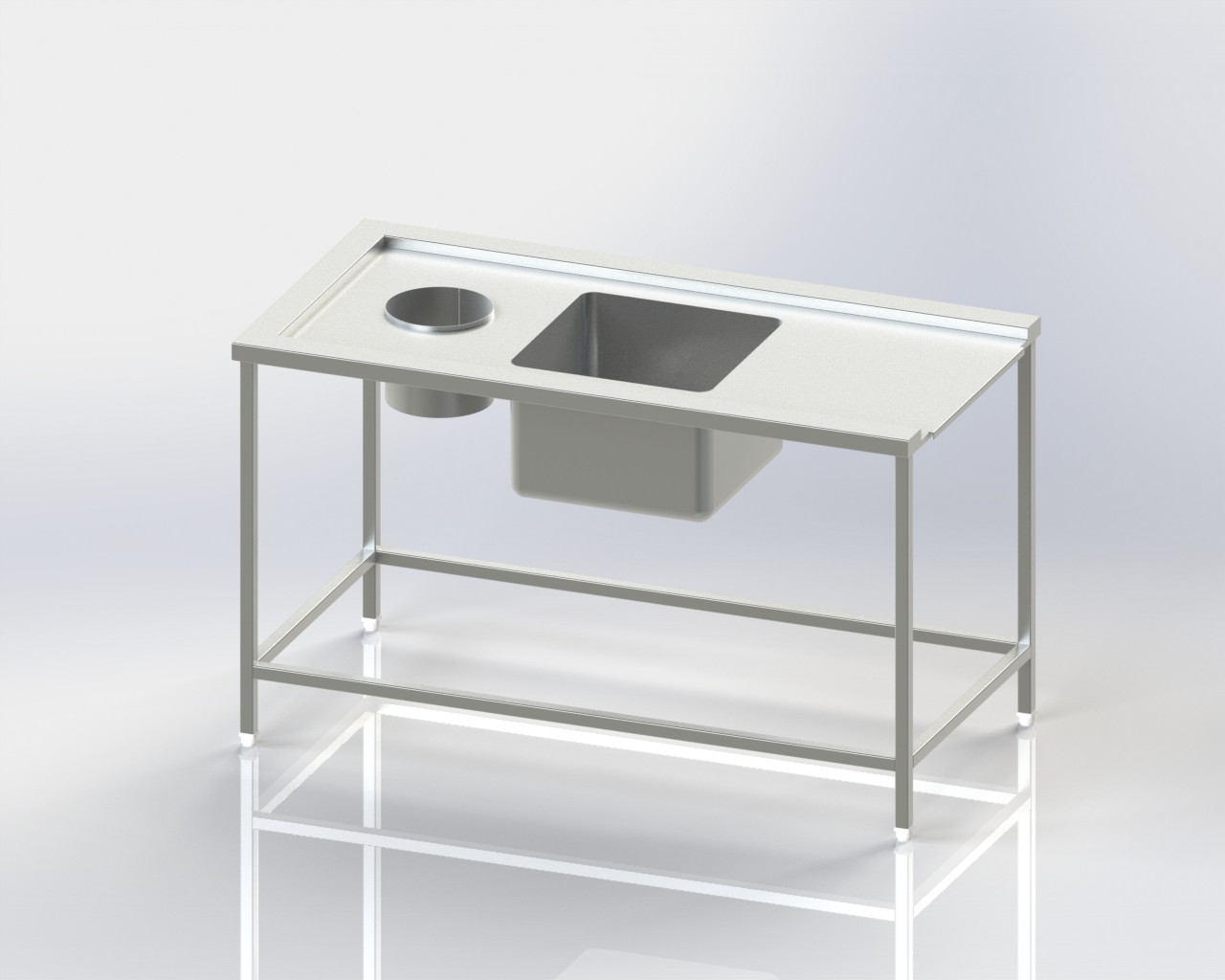 Single Sink-Scrapping Hole-Dishwasher Inlet Table