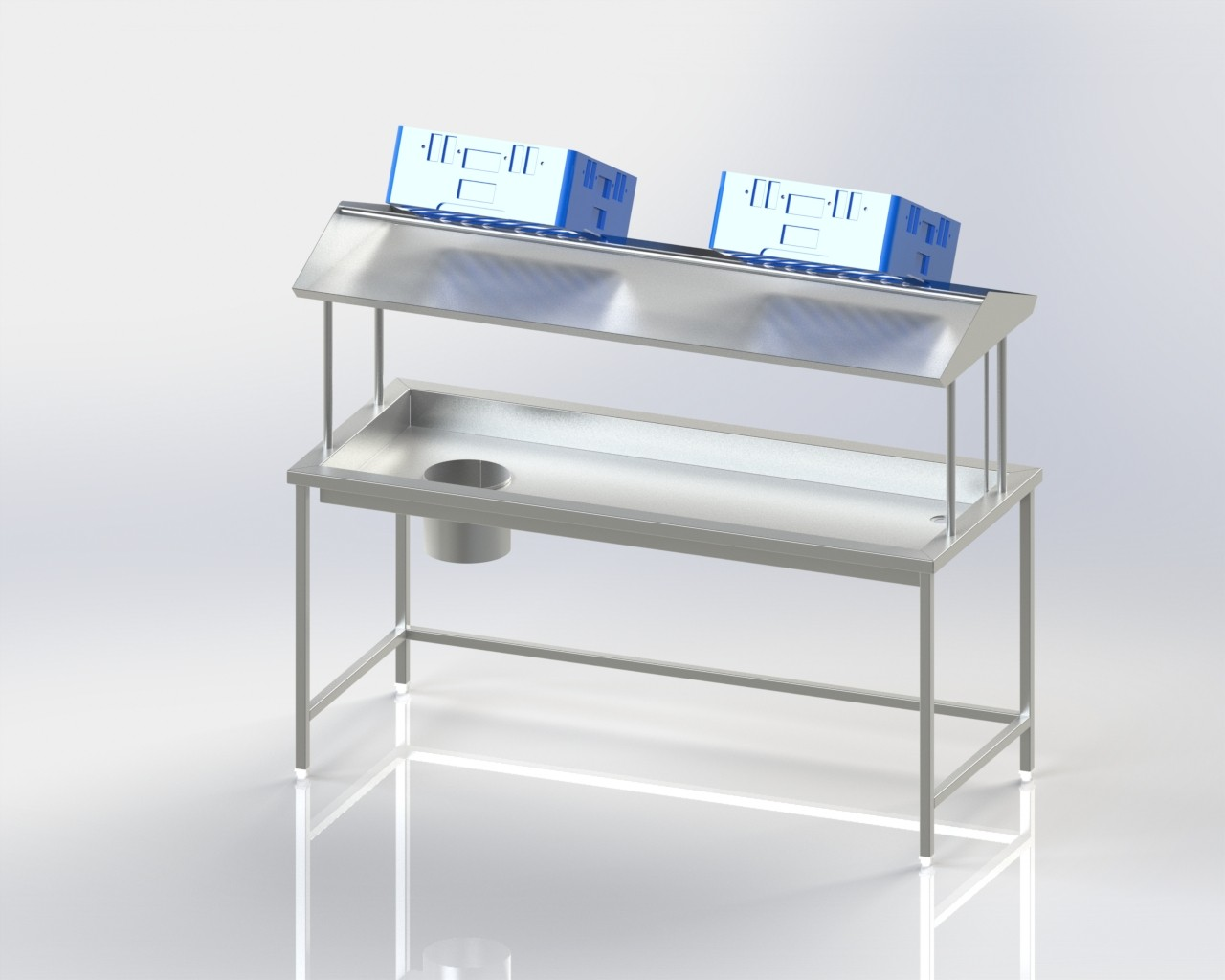 Soiled Dish Sorting Table with Scrapping Hole / Deep Top / Basket Storage